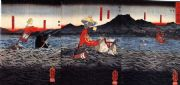 Vintage Japanese samurai poster - horses at sea